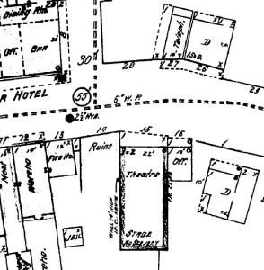 "1912 Map: Towh hall ""theatre"" with office."