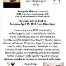 Girls Day Out with Shopping and Wine at RENEGADE Winery