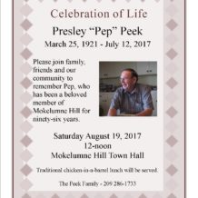 "Presley ""Pep"" Peek – Celebration of Life"