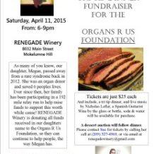 Benefit Dinner Saturday April 11th at RENEGADE Winery