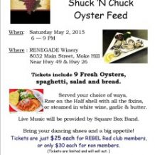 3rd Annual Shuck n Chuck Oyster Feed at RENEGADE Winery